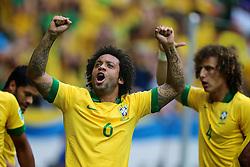 Marcelo comemora a vitória do Brasil partida contra o Japão, válida pela primeira rodada da Copa das Confederações, no Estádio Nacional Mané Garrincha, em Brasília. FOTO: Jefferson Bernardes/Preview.com