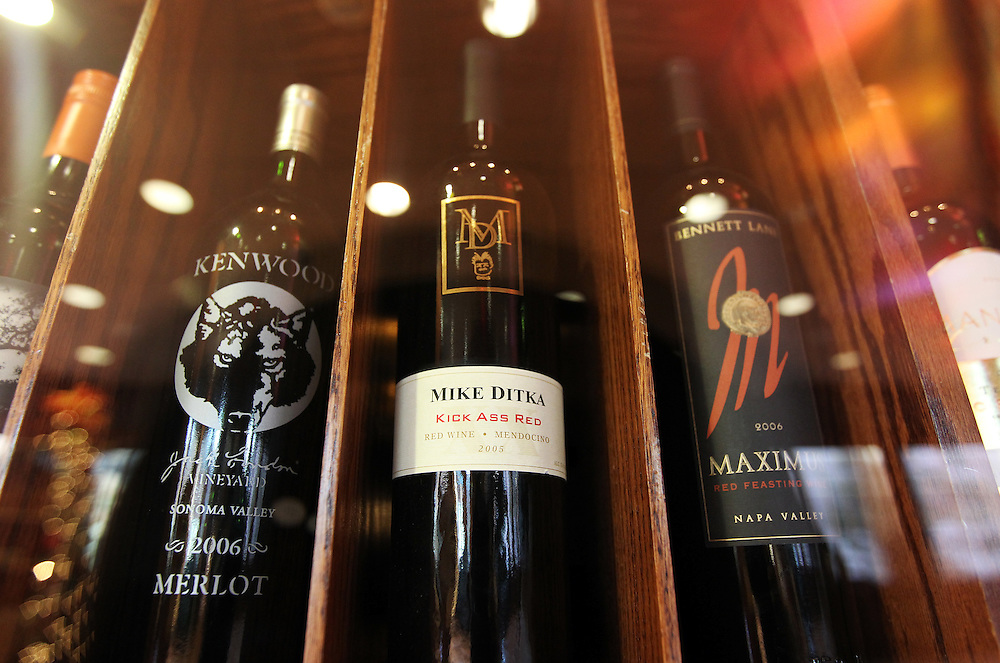 """A bottle of Mike Ditka's 2005 """"Kick Ass Red"""" wine is available for $78 in The Winds Steakhouse at Grand Casino Hinckley December 20, 2011."""