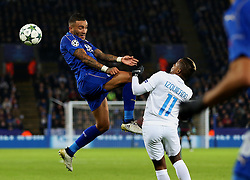 Danny Simpson of Leicester City challenges Jose Izquierdo of Club Brugge - Mandatory by-line: Matt McNulty/JMP - 22/11/2016 - FOOTBALL - King Power Stadium - Leicester, England - Leicester City v Club Brugge - UEFA Champions League