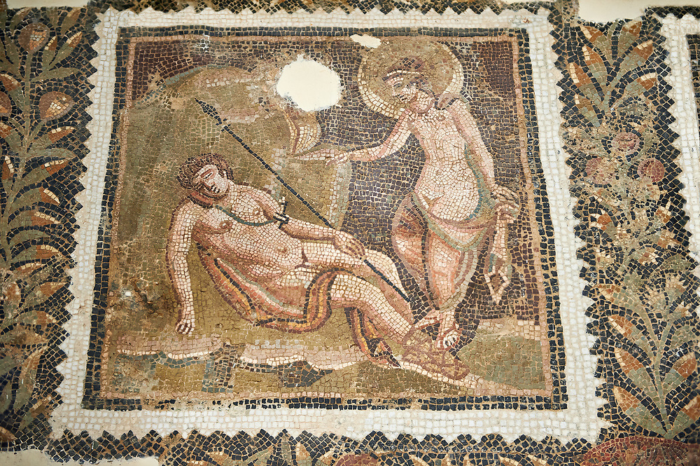 Picture of a Roman mosaics design depicting Endymion sleeping while Selene, the moon goddess, admires him, from the ancient Roman city of Thysdrus House in Jilani Guirat area. End of 2nd century AD. El Djem Archaeological Museum, El Djem, Tunisia. .<br /> <br /> If you prefer to buy from our ALAMY PHOTO LIBRARY Collection visit : https://www.alamy.com/portfolio/paul-williams-funkystock/roman-mosaic.html . Type - El Djem - into the LOWER SEARCH WITHIN GALLERY box. Refine search by adding background colour, place, museum etc<br /> <br /> Visit our ROMAN MOSAIC PHOTO COLLECTIONS for more photos to download as wall art prints https://funkystock.photoshelter.com/gallery-collection/Roman-Mosaics-Art-Pictures-Images/C0000LcfNel7FpLI