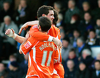Photo: Tom Dulat/Sportsbeat Images.<br /> <br /> Colchester United v Blackpool. The FA Barclays Premiership. 29/12/2007. <br /> <br /> Blackpool's Scott Vernon (C) celebrates his opener together with Wes Hoolahan (11)