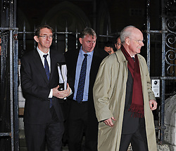 © Licensed to London News Pictures. 010/01/2012. London, UK. L to R Daily Telegraph editor Tony Gallagher, Telegraph Media Group finance director Finbarr Ronayne and Chief executive of Telegraph Media Group, Murdoch MacLennan leaving the Royal Courts of Justice after giving evidence at the Leveson Inquiry in to press standards on January 10th, 2012. Photo credit : Ben Cawthra/LNP