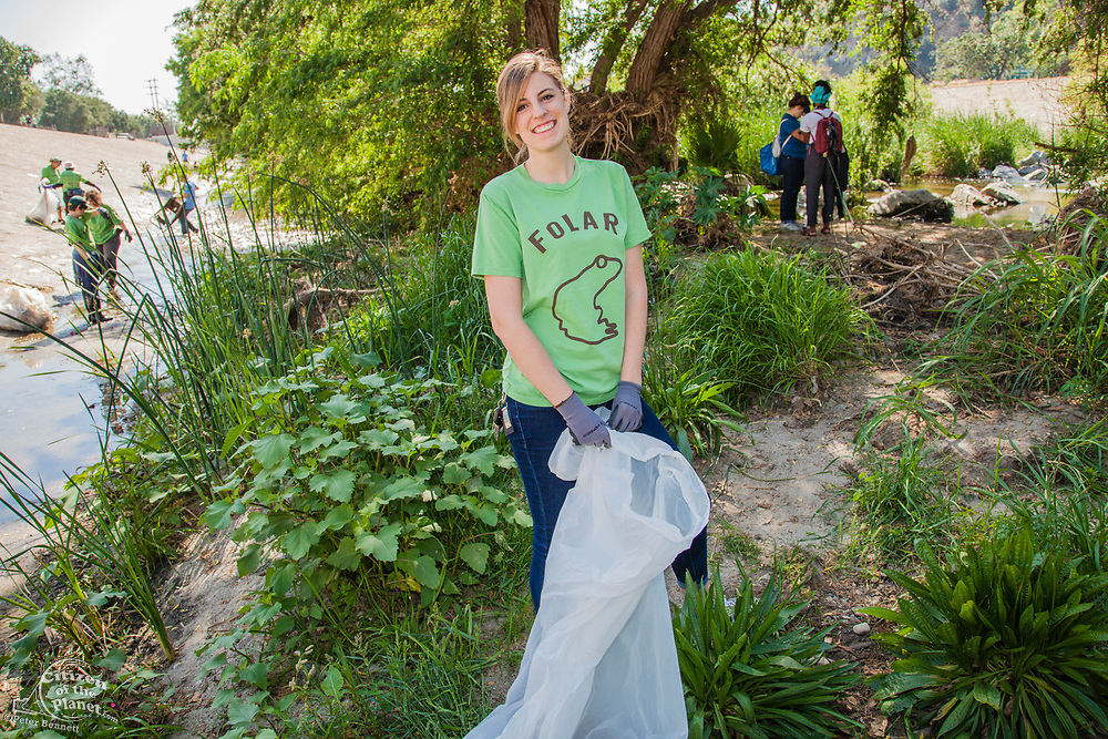 La Gran Limpieza, FoLAR River clean-up April 11, 2015, Los Angeles River, Glendale Narrows, Los Angeles, California, USA