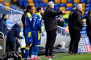 AFC Wimbledon attacker Zach Robinson (14) coming on as sub and about to make debut during the EFL Sky Bet League 1 match between AFC Wimbledon and Sunderland at Plough Lane, London, United Kingdom on 16 January 2021.