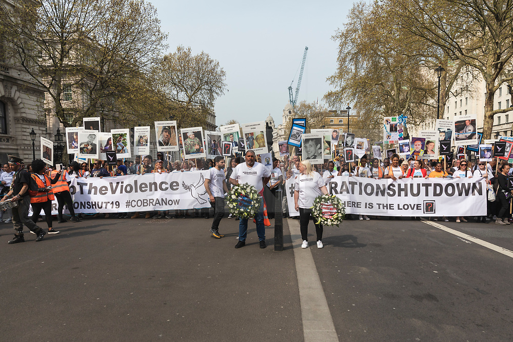 © Licensed to London News Pictures. 17/04/2019. London, UK. Bereaved relatives and campaigners march down Whitehall to demand government action on knife crime. Photo credit: Rob Pinney/LNP