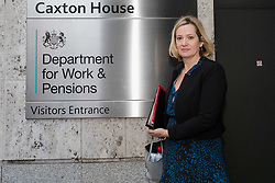 © Licensed to London News Pictures. 19/11/2018. London, UK.  AMBER RUDD, the newly appointed Work and Pensions Secretary arrives at the Department for Work and Pensions in Westminster this morning. Last week, there were multiple resignations from the cabinet over a proposed Brexit deal with the European Union.  Photo credit: Vickie Flores/LNP