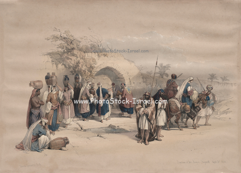 Fountain of the Virgin, Nazareth 1839 Color lithograph by David Roberts (1796-1864). An engraving reprint by Louis Haghe was published in a the book 'The Holy Land, Syria, Idumea, Arabia, Egypt and Nubia. in 1855 by D. Appleton & Co., 346 & 348 Broadway in New York.