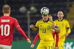 Gustav Svensson (Sverige) under venskabskampen mellem Danmark og Sverige den 11. november 2020 på Brøndby Stadion (Foto: Claus Birch).