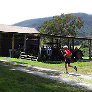 Competitors in action in the running leg of the Paradise Triathlon and Duathlon series, Paradise, Glenorchy, South Island, New Zealand. 18th February 2012. Photo Tim Clayton