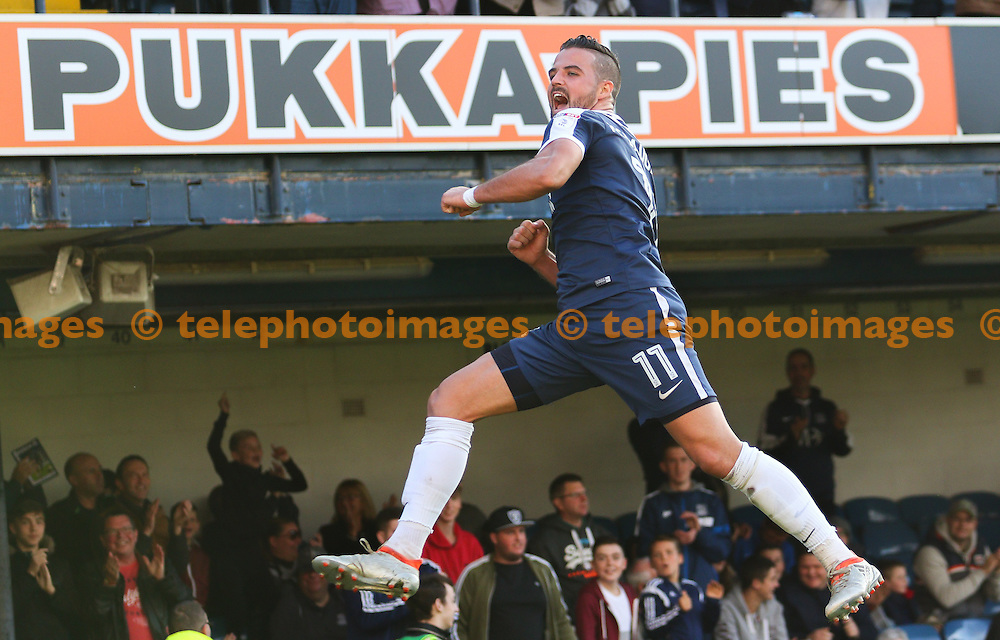 Stephen McLaughlin of Southend United celebrates scoring during the Sky Bet League 1 match between Southend United and Shrewsbury Town at Roots Hall in Southend. October 29, 2016.<br /> Arron Gent / Telephoto Images<br /> +44 7967 642437