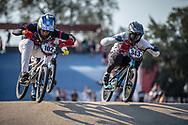#102 (BRIZUELA Matias Jesus) ARG and #343 (BRESCHAN Noah) SUI during practice at Round 9 of the 2019 UCI BMX Supercross World Cup in Santiago del Estero, Argentina