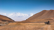 Views of Lenin Peak, 7134m (23,406 ft) renamed Ibn Sina (Avicenna) Peak after the great Persian polymath (980-1037 CE) is a constant companion when walking out into the High Pamirs along one of the southern routes of the old Silk Road by Sary Mogol on the Kyrgyz / Tajik border