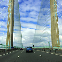 Europe, Great Britain, Wales. The Severn Bridge between England and Wales.