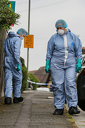 © Licensed to London News Pictures. 19/06/2019. London, UK. Forensic officers on Wellbeck Road, Barnet, North London where three men were found to be suffering stab injuries on Tuesday 18 June 2019, just before 11pm. A man in his 30s was treated at the scene, but he was pronounced dead shortly after midnight. Two other men – one in his 20s and one in his 30s were taken to hospital for treatment.  Photo credit: Dinendra Haria/LNP