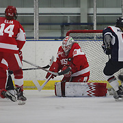 Boston University goal tender Erin O'Neil makes a save during the UConn Vs Boston University, Women's Ice Hockey game at Mark Edward Freitas Ice Forum, Storrs, Connecticut, USA. 5th December 2015. Photo Tim Clayton