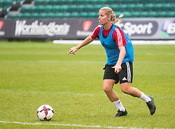 NEWPORT, WALES - Monday, September 19, 2016: Wales' Kylie Davies warms up ahead of the UEFA Women's Euro 2017 Qualifying Group 8 match at Rodney Parade. (Pic by Laura Malkin/Propaganda)