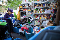 The food pantry of donated goods at the Occupy Wall Street protest in New York's Zuccotti Park...Photo by Robert Caplin.
