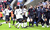 Photo:Greig Cowie<br />Barclaycard Premiership. Bolton Wanderers v Middlesbrough<br />11/05/2003<br />Jay Jay Okocha celebrates his freekick with team mates and the bench