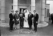 05/07/1967<br /> 07/05/1967<br /> 05 July 1967<br /> Wedding of George Walsh, eldest son of Mr and Ms Kevin G. Walsh, St. Rita's, Firhouse Road, Templeogue, Co. Dublin and Miss Arlene McMahon, elder daughter of Det. Chief Supt. Philip McMahon, Head of Special Branch, Dublin Castle and Mrs McMahon of Lisieux, Templeville Park, Templeogue, Co. Dublin who were married at the Carmelite Church, Terenure College, Dublin. An Taoiseach Mr Jack Lynch and Mrs Lynch; Mr Liam Cosgrave, leader Fine Gael and Mrs Cosgrave were among the 120 guests. Rev Fr H.E. Wright, O. Carm., Moate, officiated at the ceremony. The reception was held at Downshire Hotel, Blessington, Co. Wicklow. Outside the church after the ceremony, with the groom's parents..