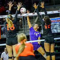Kirtland Central Bronco Nia Nelson (14), center, spikes to  Artesia Bulldogs Malori Mcspadden (18), left, and Bailey Pearce (12) during the New Mexico High School volleyball championship at the Santa Ana Star Center in Rio Rancho Friday.
