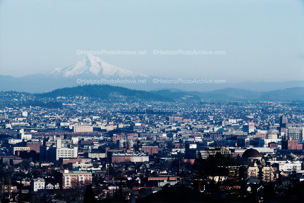CS00015-06. Portland Mt. Tabor and Mt. Hood from SW Hills, June 1961.
