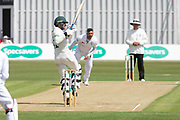 Hassan Azad pulls Ravi Rampaul during the Specsavers County Champ Div 2 match between Leicestershire County Cricket Club and Derbyshire County Cricket Club at the Fischer County Ground, Grace Road, Leicester, United Kingdom on 28 May 2019.