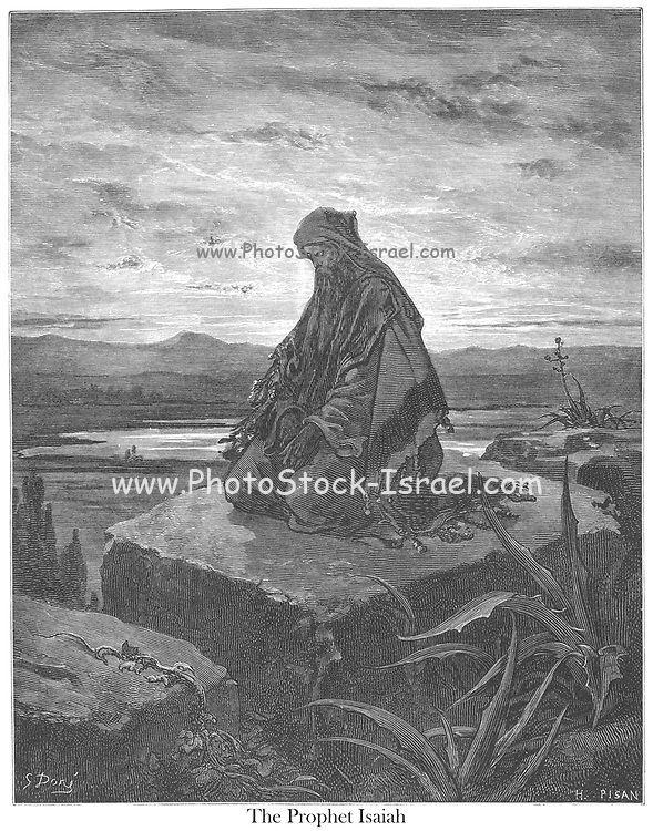 The Prophet Isaiah Isaiah 6:8-9 From the book 'Bible Gallery' Illustrated by Gustave Dore with Memoir of Dore and Descriptive Letter-press by Talbot W. Chambers D.D. Published by Cassell & Company Limited in London and simultaneously by Mame in Tours, France in 1866