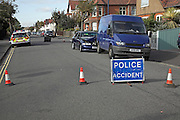 Police attending road traffic accident, Felixstowe, Suffolk, England