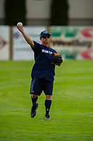 KELOWNA, CANADA - JUNE 28: Juno award winning country music artist Aaron Pritchett warms up prior to the opening charity game of the Home Base Slo-Pitch Tournament fundraiser for the Kelowna General Hospital Foundation JoeAnna's House on June 28, 2019 at Elk's Stadium in Kelowna, British Columbia, Canada.  (Photo by Marissa Baecker/Shoot the Breeze)