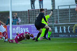 Arbroath's Ricky Little can only divert the ball into his own net for Clyde's second goal. Arbroath 0 v 2 Clyde, Tunnocks Caramel Wafer Challenge Cup 4th Round, played 12/10/2019 at Arbroath's home ground, Gayfield Park.