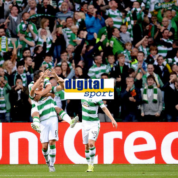 19/08/15 UEFA CHAMPIONS LEAGUE PLAY-OFF 1ST LEG<br /> CELTIC V MALMO<br /> CELTIC PARK - GLASGOW<br /> Nir Bitton celebrates his strike for Celtic.