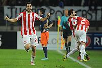 FOOTBALL - UEFA CHAMPIONS LEAGUE 2012/2013 - GROUP STAGE - GROUP B - MONTPELLIER HSC v OLYMPIACOS - 24/10/2012 - PHOTO SYLVAIN THOMAS / DPPI - JOY KOSTAS MANOLAS (OFC) AFTER THE GOAL