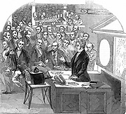 Michael Faraday (1791-1867) British chemist and physicist, lecturing on electricity and magnetism Royal Institution, London, 23 January 1846. Wood engraving.