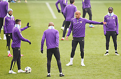 Manchester City's Vincent Kompany has a disagreement with Samir Nasri during the training session at the Etihad Campus ahead of the UEFA Champions League second leg match against FC Barcelona - Photo mandatory by-line: Matt McNulty/JMP - Mobile: 07966 386802 - 17/03/2015 - SPORT - Football - Manchester - Etihad Campus - Barcelona v Manchester City - UEFA Champions League