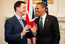 File photo dated 25/05/11 of Deputy Prime Minister Nick Clegg (left) talking to US President Barack Obama at 10 Downing Street, London. Nick Clegg has lost his Sheffield Hallam seat to Labour.
