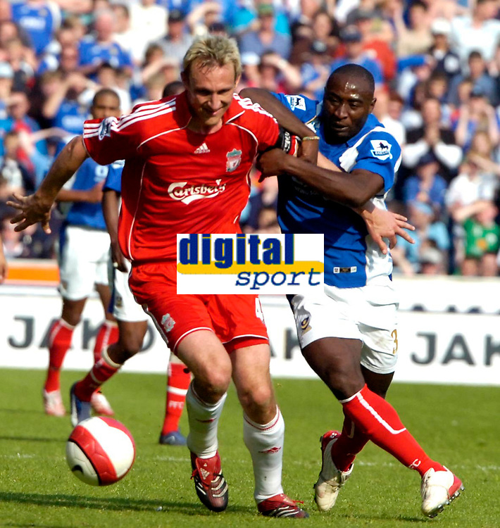 Photo: Ed Godden.<br /> Portsmouth v Liverpool. The Barclays Premiership. 28/04/2007. Portsmouth's Lua Lua (R), battles from behind to get the ball from Liverpool's Sami Hypia.