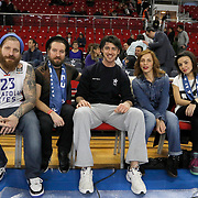 Sevtap Erener (2ndR) during their Turkish Airlines Euroleague Basketball Top 16 Round 5 match Anadolu Efes between Olympiacos Piraeus at Abdi ipekci arena in Istanbul, Turkey, Thursday January 29, 2015. Photo by Aykut AKICI/TURKPIX