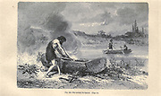 Dugout canoe according to the French illustrator Emile Bayard (1837-1891), illustration Artwork published in Primitive Man by Louis Figuier (1819-1894), Published in London by Chapman and Hall 193 Piccadilly in 1870