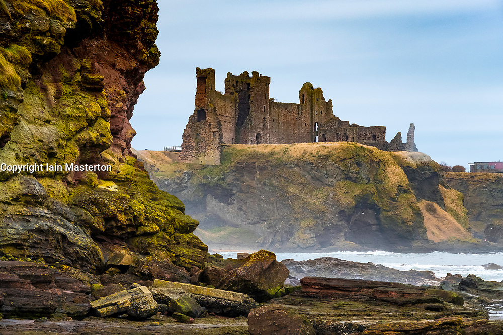 View of Tantallon Castle from the Beach in East Lothian, Scotland, United Kingdom