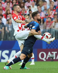MOSCOW, July 15, 2018  Olivier Giroud (R) of France competes during the 2018 FIFA World Cup final match between France and Croatia in Moscow, Russia, July 15, 2018. (Credit Image: © Yang Lei/Xinhua via ZUMA Wire)