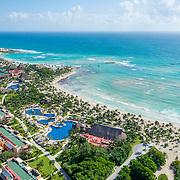 Aerial view of Barcelo hotels in Puerto Aventuras. Riviera Maya. Mexico. Maya Palace de Luxe,Maya Colonial and Maya Beach
