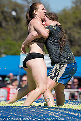 Annual cole slaw wrestling day at the Cabbage Patch in New Smyrna Beach during Daytona Bike Week. New Smyrna Beach, FL. USA. Wednesday March 15, 2017. Photography ©2017 Michael Lichter.