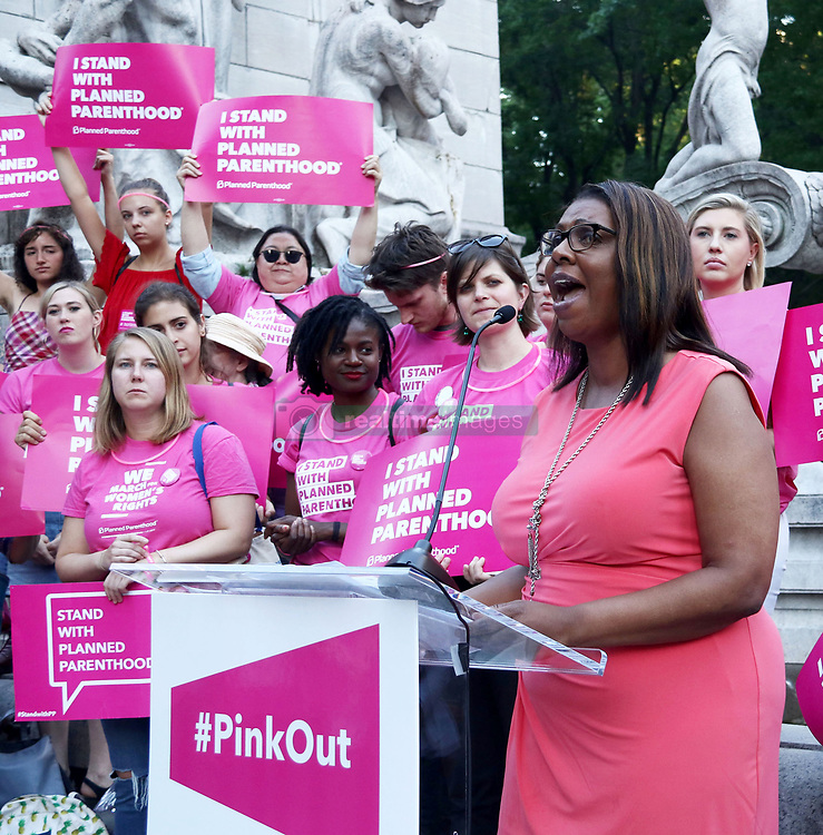 June 21, 2017 - New York, New York, U.S. - New York City Public Advocate LETITIA JAMES speaks at Planned Parenthood PinkOut rally protesting proposed cuts to Planned Parenthood in Trump's Health Care Bill held in Columbus Circle. (Credit Image: © Nancy Kaszerman via ZUMA Wire)
