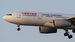 March 23, 2019 - Richmond, British Columbia, Canada - A China Eastern Airlines Airbus A330-200 (B-5973) wide-body jetliner airborne on short final approach for landing. (Credit Image: © Bayne Stanley/ZUMA Wire)