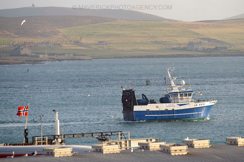 The fishing industry in Shetland has seen one of its most successful years.  Business leaders in Shetland believe the unique nature of its economy has protected it from the current downturn hitting the rest of the UK.  Picture shows view of fishing boats entering Scalloway harbor.