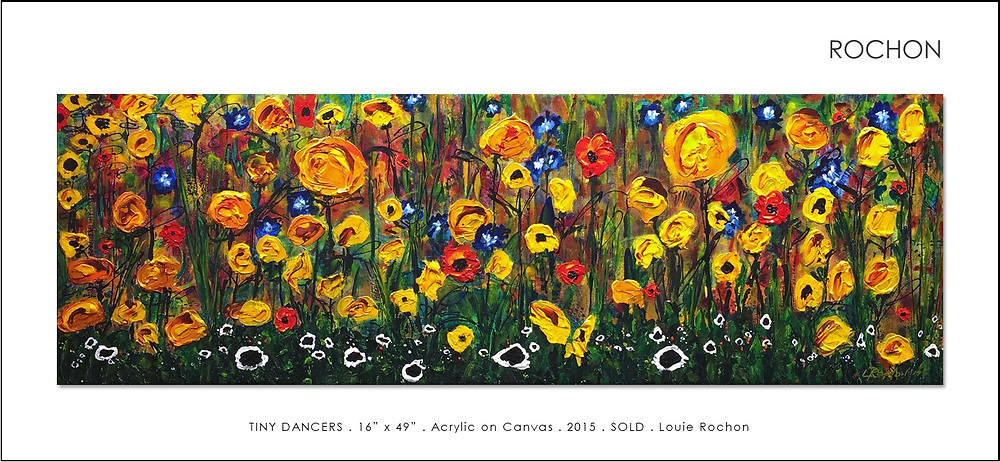 'Tiny Dancers' was created over a one month period. The background is composed of literally dozens of translucent layers of acrylic and ink washes to build light, then hand brush work, again to bring in background, followed by thick buttery acrylic impasto. SOLD