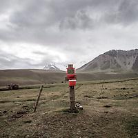 A washstand in a semi nomadic herders yurt camp, near Lenin Peak, Kyrgyzstan.