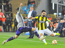 November 8, 2018 - Istanbul, Turkey - Fenerbahce's Hasan Ali Kaldirim (R) and Anderlecht's Alexis Saelemaekers, during the group D Europa League soccer match between Fenerbahce and Anderlecht at the Sukru Saracoglu stadium, in Istanbul, Thursday, Nov. 8, 2018. (Credit Image: © Depo Photos via ZUMA Wire)