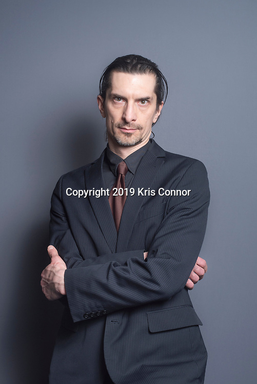 Composer Thomas Kozumplik pose for a portrait, he teamed up with legendary percussionist Jonathan Haas on Massive Child of the Earth Kozumplik's large and expressive symphony for the NYU Percussion Ensemble pose for a portrait at New York University on April 3, 2019. (Photo by Kris Connor)
