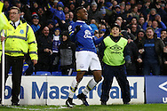 Ademola Lookman of Everton celebrates after scoring his teams 4th goal. Premier league match, Everton v Manchester City at Goodison Park in Liverpool, Merseyside on Sunday 15th January 2017.<br /> pic by Chris Stading, Andrew Orchard sports photography.